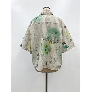 「傘のむこう」イイダ傘店コラボレーションアイテム open coller shirt 「押し花と夏風」_02