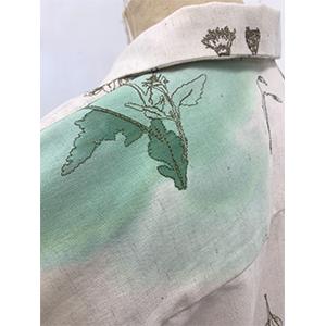 「傘のむこう」イイダ傘店コラボレーションアイテム open coller shirt 「押し花と夏風」_05