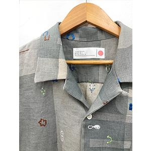 「傘のむこう」イイダ傘店コラボレーションアイテム open coller shirt 「夕方の星空」「朝焼けの星空」_03